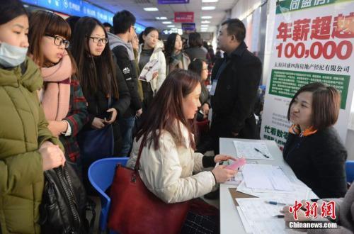资料图:2016年2月15日,山西太原,春节后首场高校毕业生招聘会开场,图为众多求职者被一家公司的高薪待遇吸引。韦亮摄